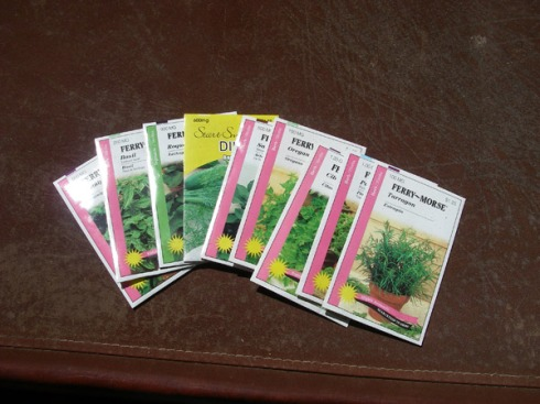 Oregano, Tarragon, Catnip, Dill, Basil...and some more I can't remember =)